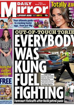 daily mirror front cover